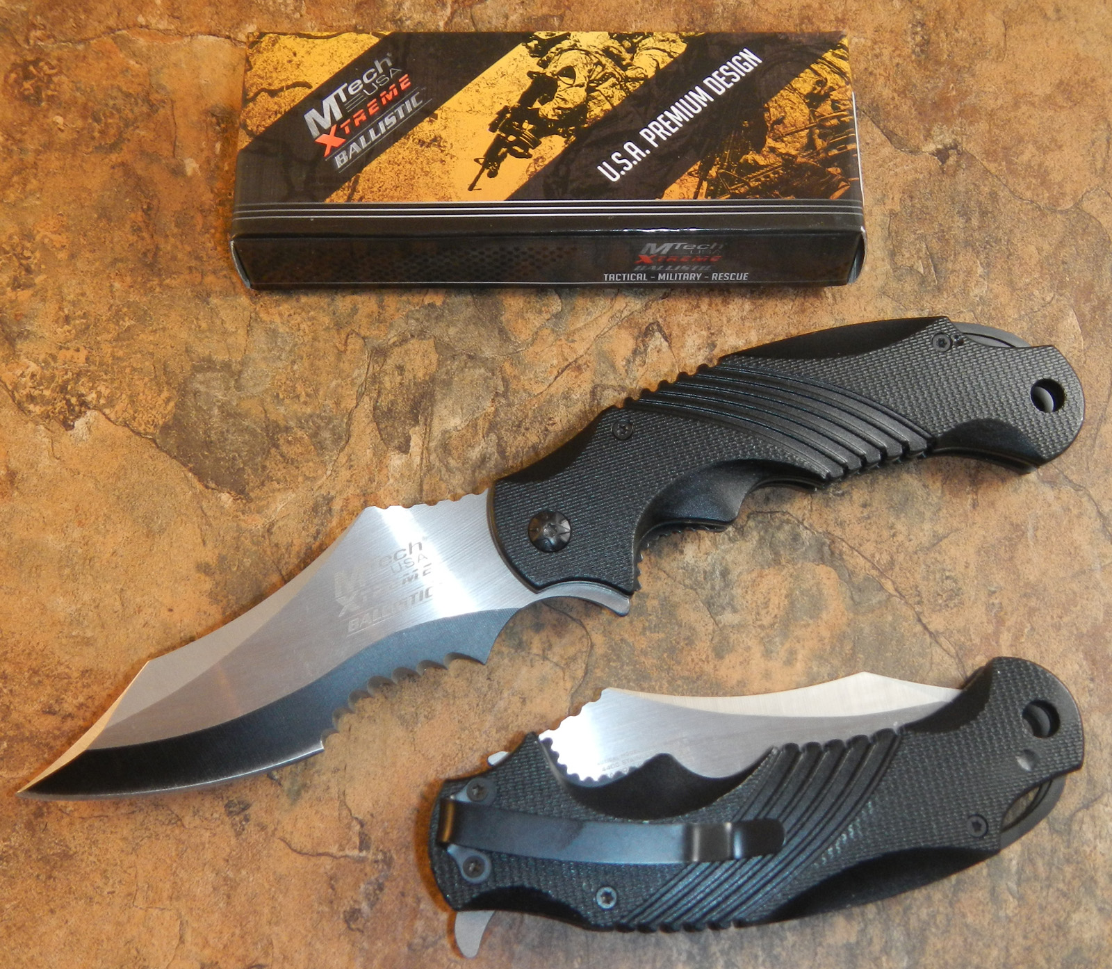 Mtech Xtreme Ballistic Black Spring Assisted Open Tactical