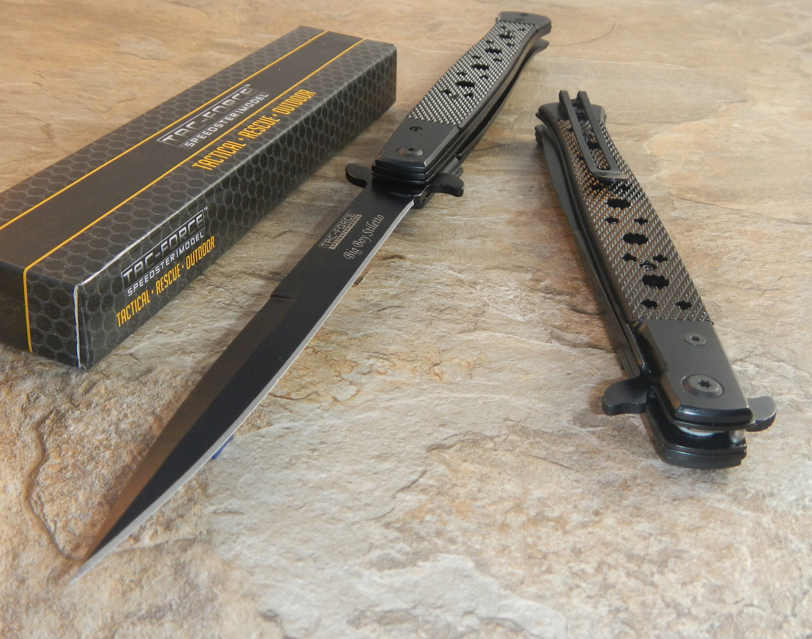 Tac Force Black Spring Assisted Open Extra Large Stiletto