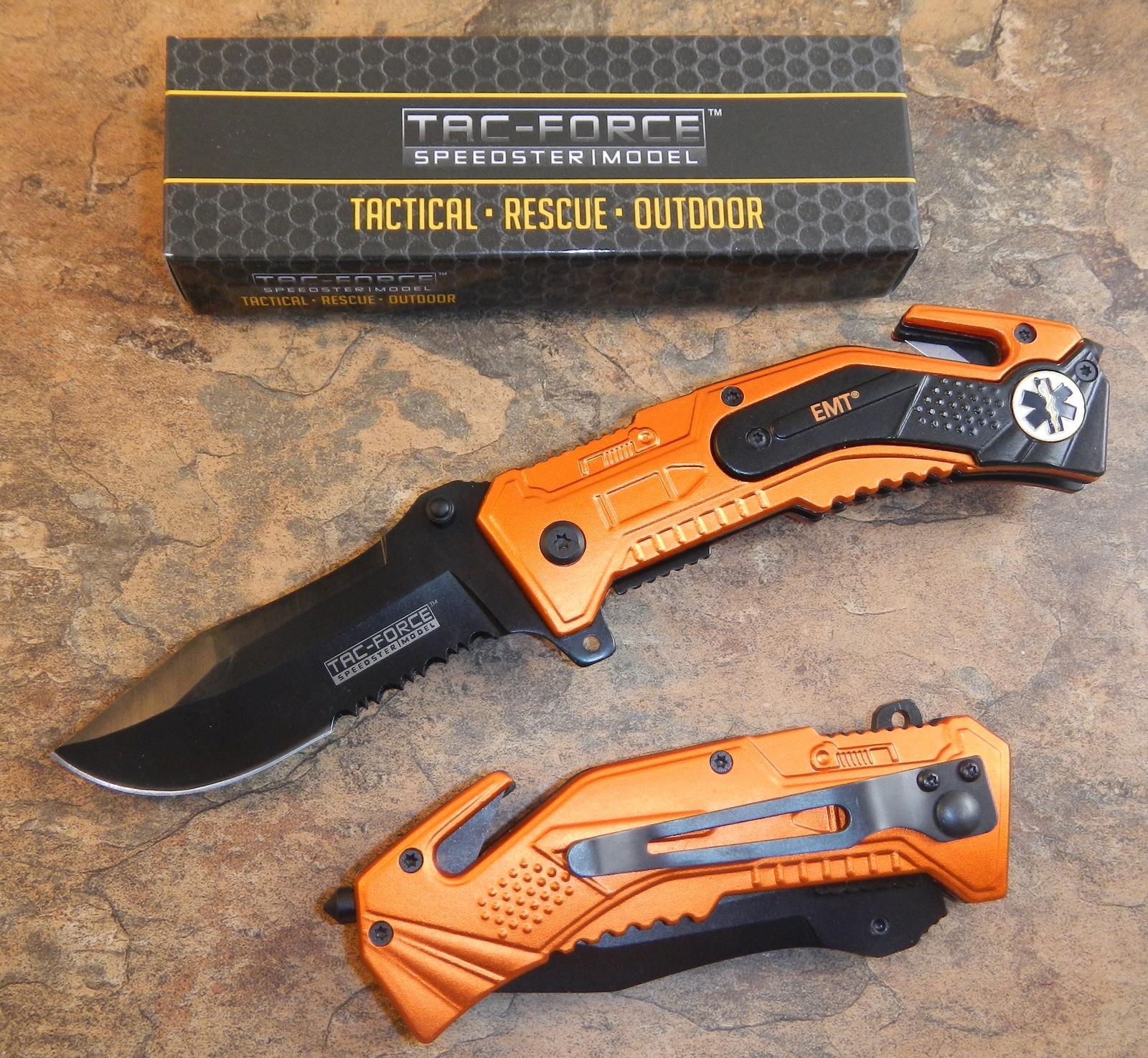 Tac Force Spring Assisted Open Emt Orange Tactical Rescue