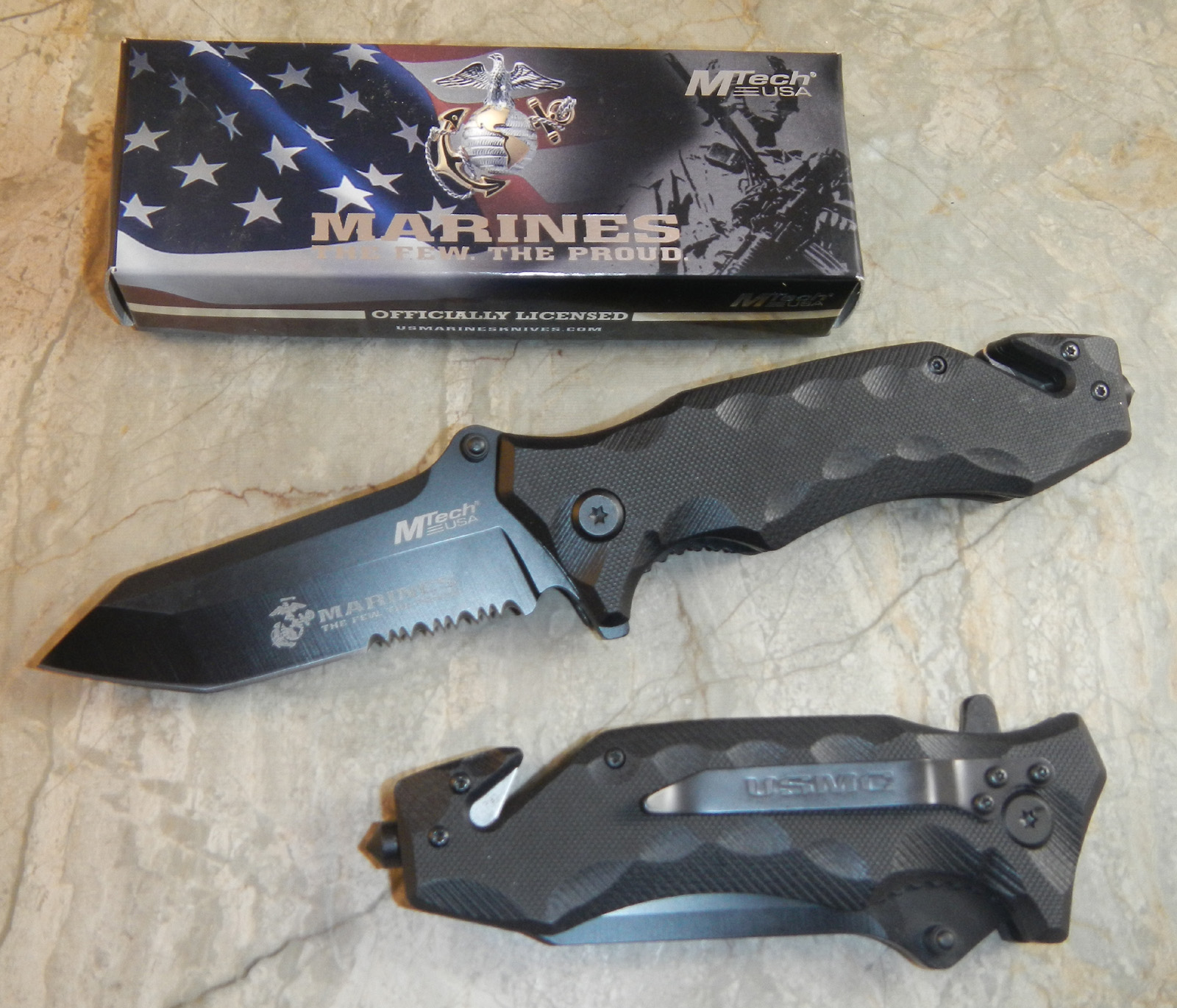 Usmc Marines Spring Assisted Open Black G10 Tactical Tanto